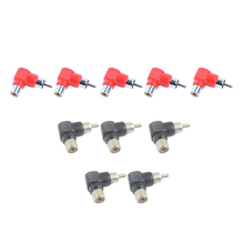 цена на 10pcs RCA right angle Connector Plug Adapters M/F Male to Female 90 Degree Easy to use and play Convenient to carry