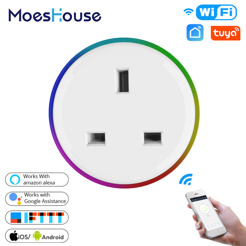 UK WiFi Smart Plug Outlet Wireless Power Socket Smart Life/Tuya App Remote Control Work With Alexa Google Home No Hub Required