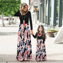 2019 Autumn mommy and me clothes Family matching Mom daughter dress Long Sleeve Printed Dress mum dresses C0569