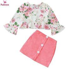 1-5 Year Children Toddler Kids Baby Girl Clothes Set Long Sl