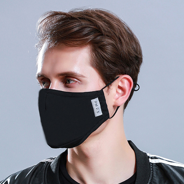 1Pcs BYEPAIN Fashion Cotton PM2.5 Black mouth Mask Activated carbon filter Windproof Mouth-muffle masks For Man Woman 4