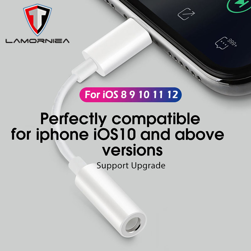 For IOS 12 Music Headphone Adapter For IPhone 7 8 X AUX Adapter For Lightning Female To 3.5mm Male Adapters Headphone Jack Cable