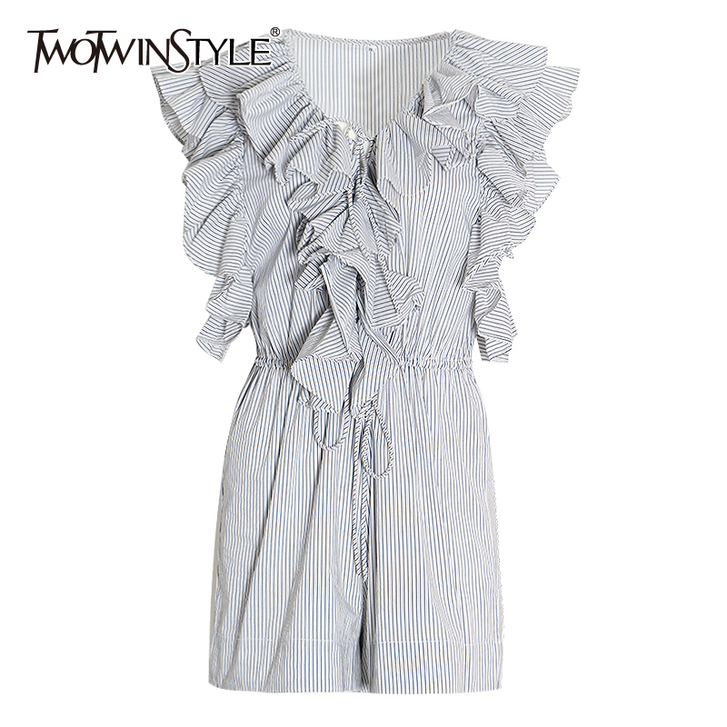 TWOTWINSTYLE Striped Patchwork Ruffle Women's Jumpsuit V Neck Sleeveless High Waist Lace Up Jumpsuits Female Fashion New 2020