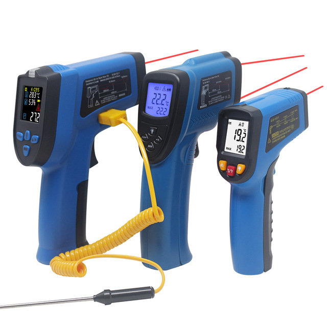 LCD IR Infrared Thermometer Non Contact Double/Single Laser Pyrometer Digital C/F Selection Surface Temperature Monitor