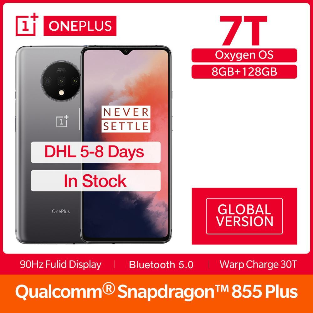 Global Version OnePlus 7T 8GB 128GB Snapdragon 855+ 6.55'' 90Hz Display 48MP Triple Cam 3800mAh 30W NFC Octa Core Mobile Phone