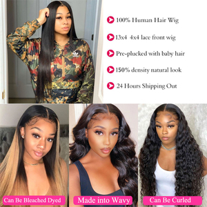 Image 2 - 32 34 36 Inch Straight Lace Front Human Hair Wigs For Women Brazilian Remy Human Hair lace Closure Wigs Perruque Cheveux Humain