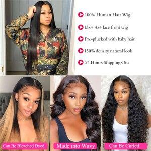 Image 2 - 32 34 36 inç düz dantel ön İnsan saç peruk kadınlar için brezilyalı Remy İnsan saç dantel kapatma peruk Perruque cheveux Humain