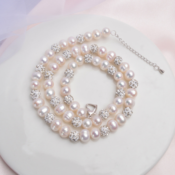 ASHIQI Real Natural Freshwater Pearl Necklace with White Clay Zircon Ball Jewelry for Women Gifts