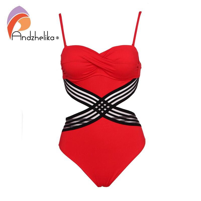 Andzhelika Sexy One-piece Swimsuit Push Up Swimwear Patchwork Mesh Backless Swimwear Beach Monokini Ladies Bathing Suit 3