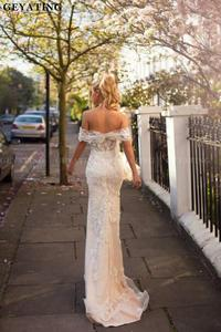 Image 5 - 2020 Off The Shoulder Detachable Wedding Dress Train Champagne Lace Appliques Mermaid Wedding Dresses Ruffles Vestidos de novia
