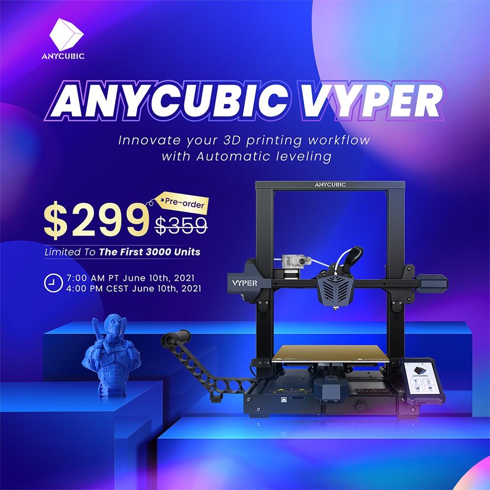 Предварительная продажа, 3D принтер ANYCUBIC VYPER FDM с автоматическим выравниванием, большой размер печати 245*245*260 мм, 4,3 дюйма, большой сенсорный эк...