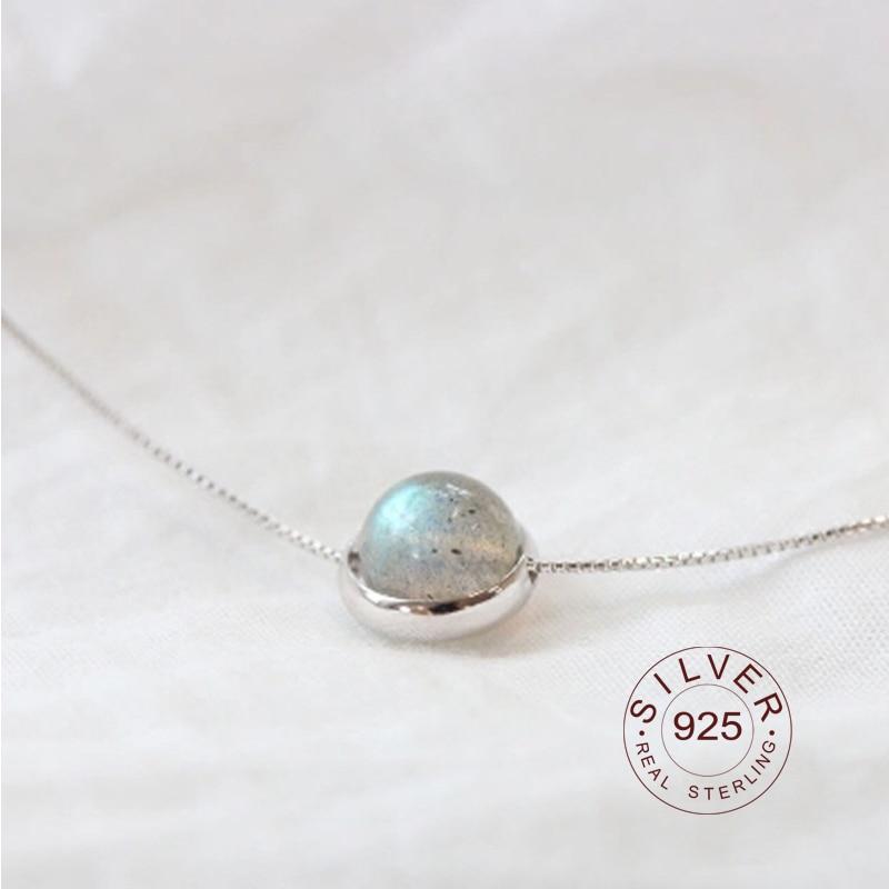 Collares y colgantes plata de ley 925 auténtica de cuentas de piedra lunar hechos a mano en plata de ley 925 para mujer