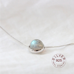 Real 925 sterling silver necklace Moonstone Bead Necklaces & Pendants For Women Handmade 925 Sterling Silver Fashion Jewelry