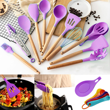 Wooden Handle Silicone Kitchenware Cookware Spatula Soup Spoon Brush Non-stick