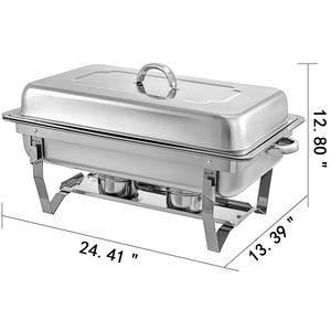 Image 2 - Food Chafing Dishes 4 Pieces with 9L Stainless Steel Full Size Chafer Buffet Water Pan Fuel Holder and Lid For Catering Warmer