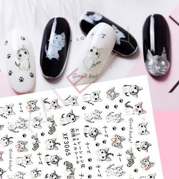 3D naklejki do paznokci stylizacja manicure kreskówka z japonii kot naklejka do paznokci z powrotem klej klej 3D kalkomanie transferowe dekoracji paznokci okłady