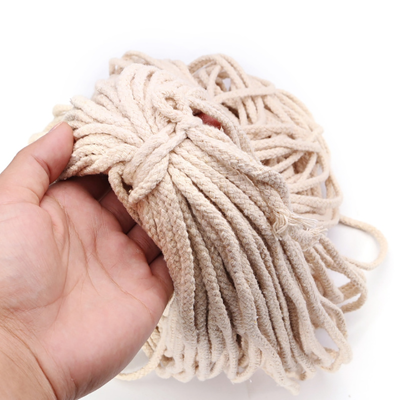 5Mmx100M Braided Cotton Rope Twisted Cord Diy Craft Macrame Woven String Home Textile Accessories Gift