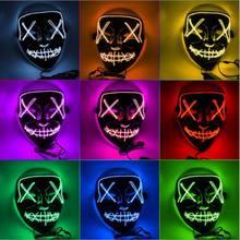 43 cores assustador dia das bruxas cosplay led máscara de energia rosto iluminar up masquerade decoração led máscara de energia rosto iluminar-se brilho no escuro