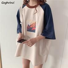 Camisetas Mujer largo Patchwork gráfico o-Cuello de manga tres cuartos pijo Coreano estilo diseño elegante damas chicas Kawaii Hipster