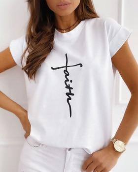 Women Elegant Casual Print Round Table Summer Female T-shirt Short  fashion kawaii t shirt harajuku