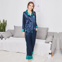 New product simulation silks pajamas ladies autumn long-sleeved trousers home service suit sleepwearS082