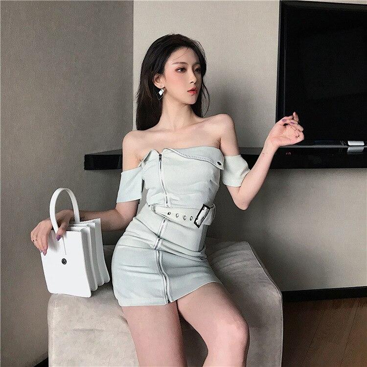 2019 Sexy Suit-dress women Summer Chest Skirt Word Zipper Waist Cowboy Tube Top Dress fashion woman clothes
