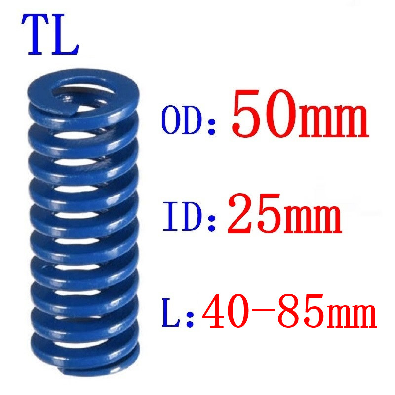 Venda quente 1 pces od 50mm id 25mm comprimento 40-85mm azul luz carga espiral estampagem compressão morrer primavera helicoidal
