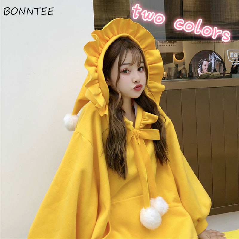Hoodies Women Pocket Hairball Ruffled Pleated Hooded Kawaii Students Lovely Sweatshirts Bow-knot Harakuju Velvet Loose Ins New