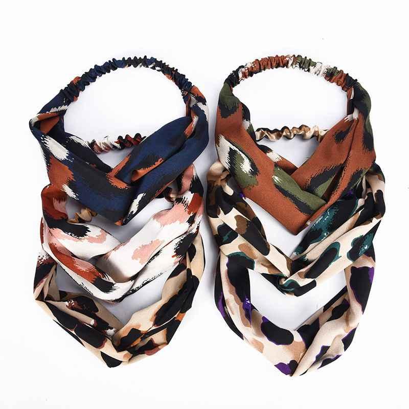 חדש כניסות בציר 1pcs נשים בד צלב Boho Leopard טוויסט קשר אלסטי לעטוף טורבן להקת שיער שיער אביזרי מתנה