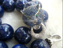 FREE SHIPPING>> 11.25 lapis lazuli 20mm blue leopard clasp necklace 18inch(China)