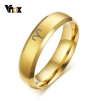 vnox 6mm 8mm spinner ring for men stress release accessory classic stainless steel wedding band casual male sports jewelry Vnox 6mm 12 Constellation Ring Custom Free Engraving Stainless Steel Band for Men Women Twelve Horoscope Aries Jewelry