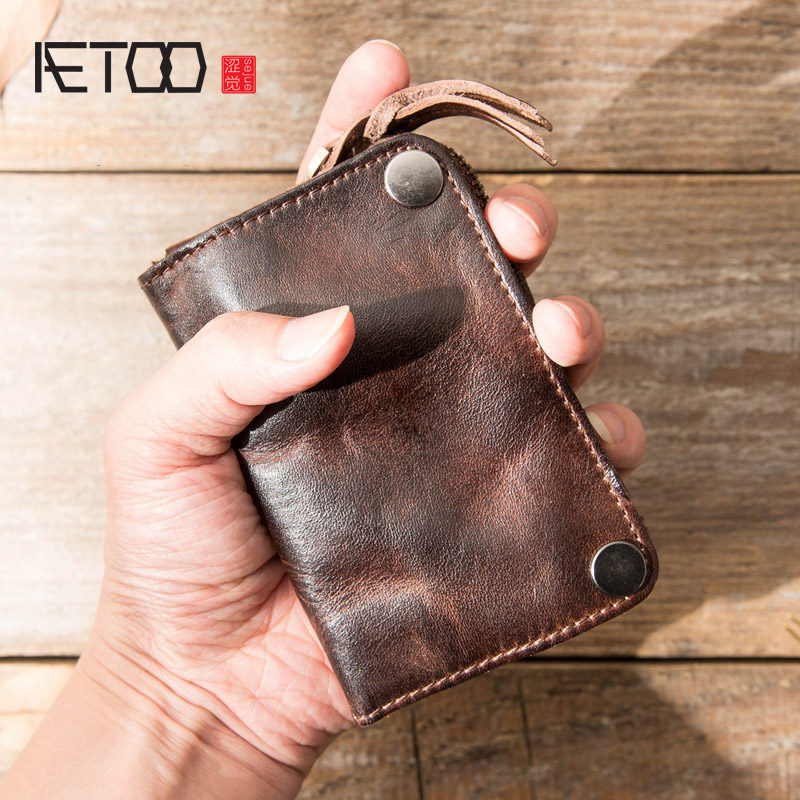 AETOO Men's Leather Key Bag, Large-capacity Leather Leather Zero Wallet, Head Leather Car Key Bag
