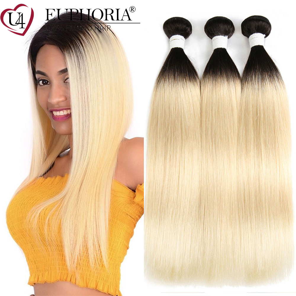 Blonde 613 Straight Hair 3 Bundles Brazilian Remy 100% Human Hair Bundles Ombre Blonde Hair Weaving Extensions 1/3/4Pcs EUPHORIA