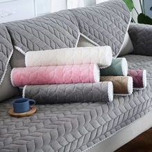 Sofa-Protector-Cover Cushion-Mat Chair Stretch Sofa Living-Room Plain Plush for Solid