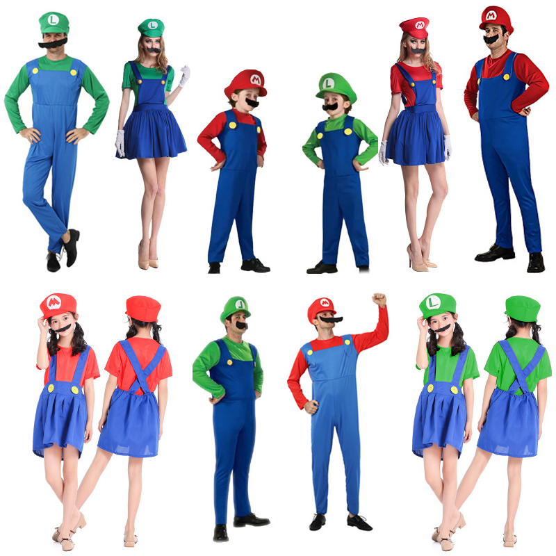 Super Mario Bros Cosplay Costume Adults Kids Halloween Christmas Fantasia Mario Uniform MARIO & LUIGI Cosplay Gifts Dropshipping