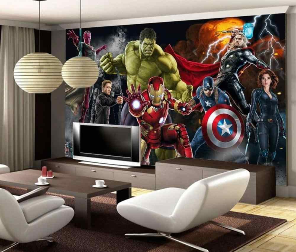 Kustom Lukisan Dinding Wallpaper 3D Spiderman MARVEL Avengers Wallpaper Dinding Wallpaper Captain America Latar Belakang Lukisan Dinding