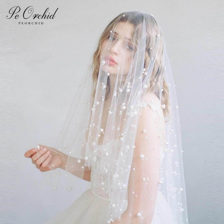 PEORCHID 2020 New 2 Layer Pearl Veil Short White Bridal Veils Tulle Romantic Beaded Wedding Veils With Comb Acessorio De Noiva