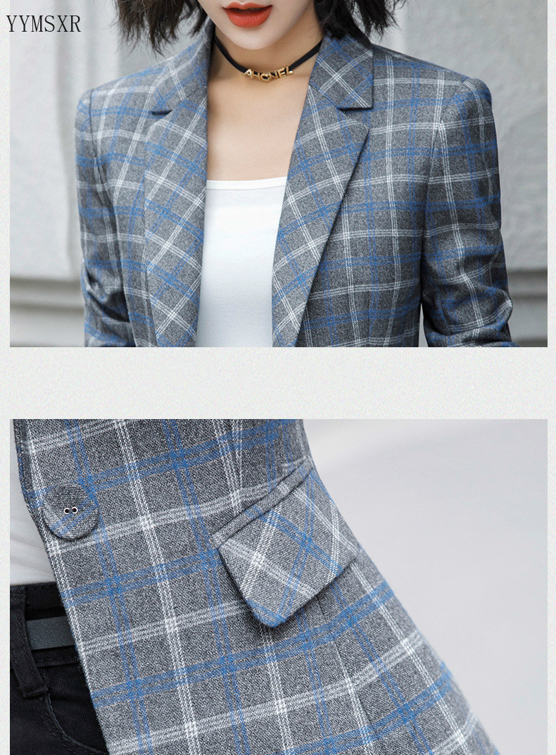 2020 Spring and autumn ladies professional jacket feminine small suit High Quality Casual Slim Plaid Office Blazer Female Coat