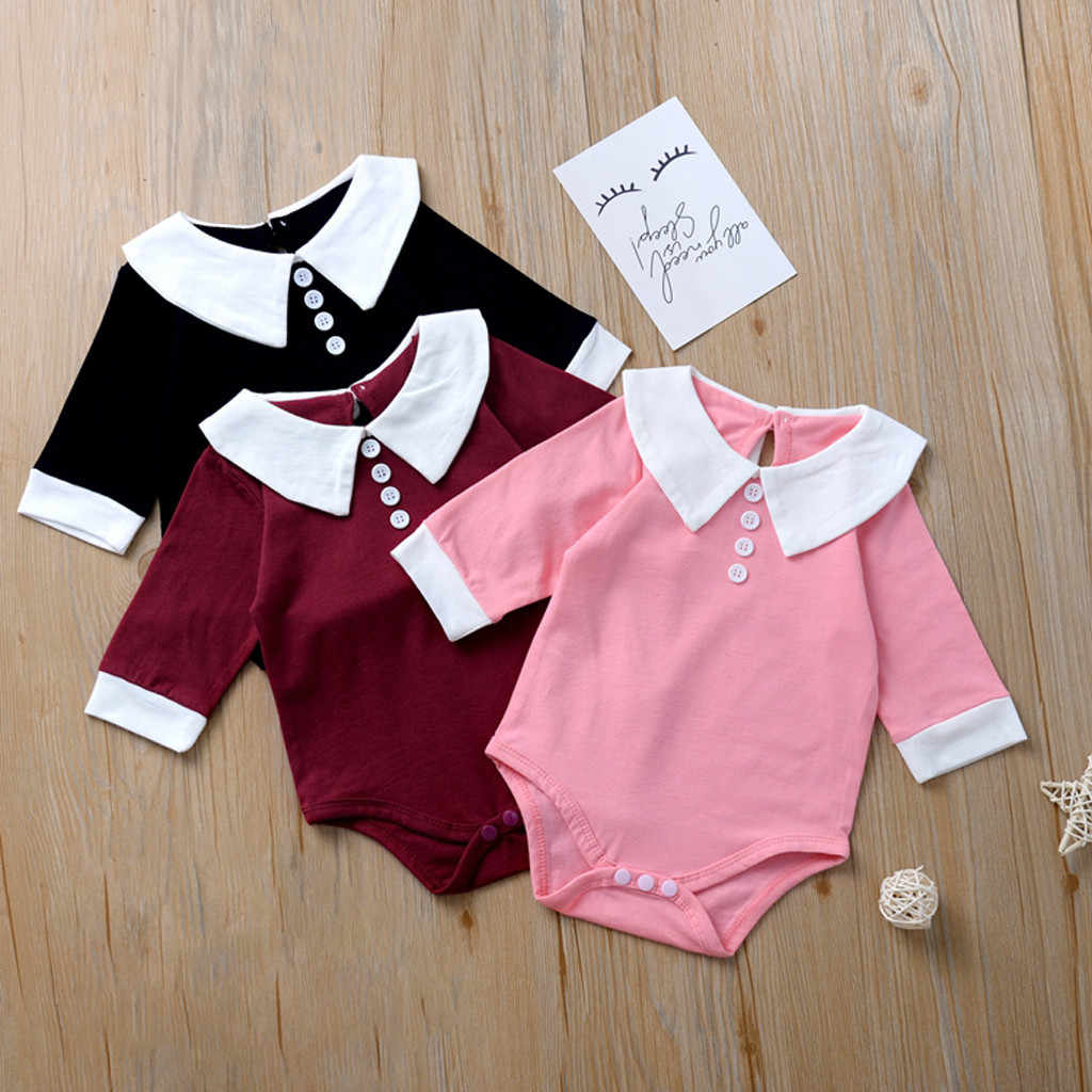 Winter overalls for little girls Infant Baby Kids Girls Doll Collar Ruffles Romper Bodysuit Casual Clothes princess autumn cloth