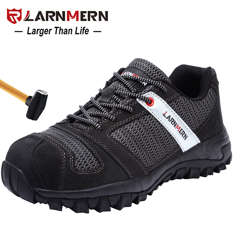 LARNMERN Mens Steel Toe Work Safety Shoes Lightwieght Breathable Anti-smashing Anti-puncture Construction Protective Footwear