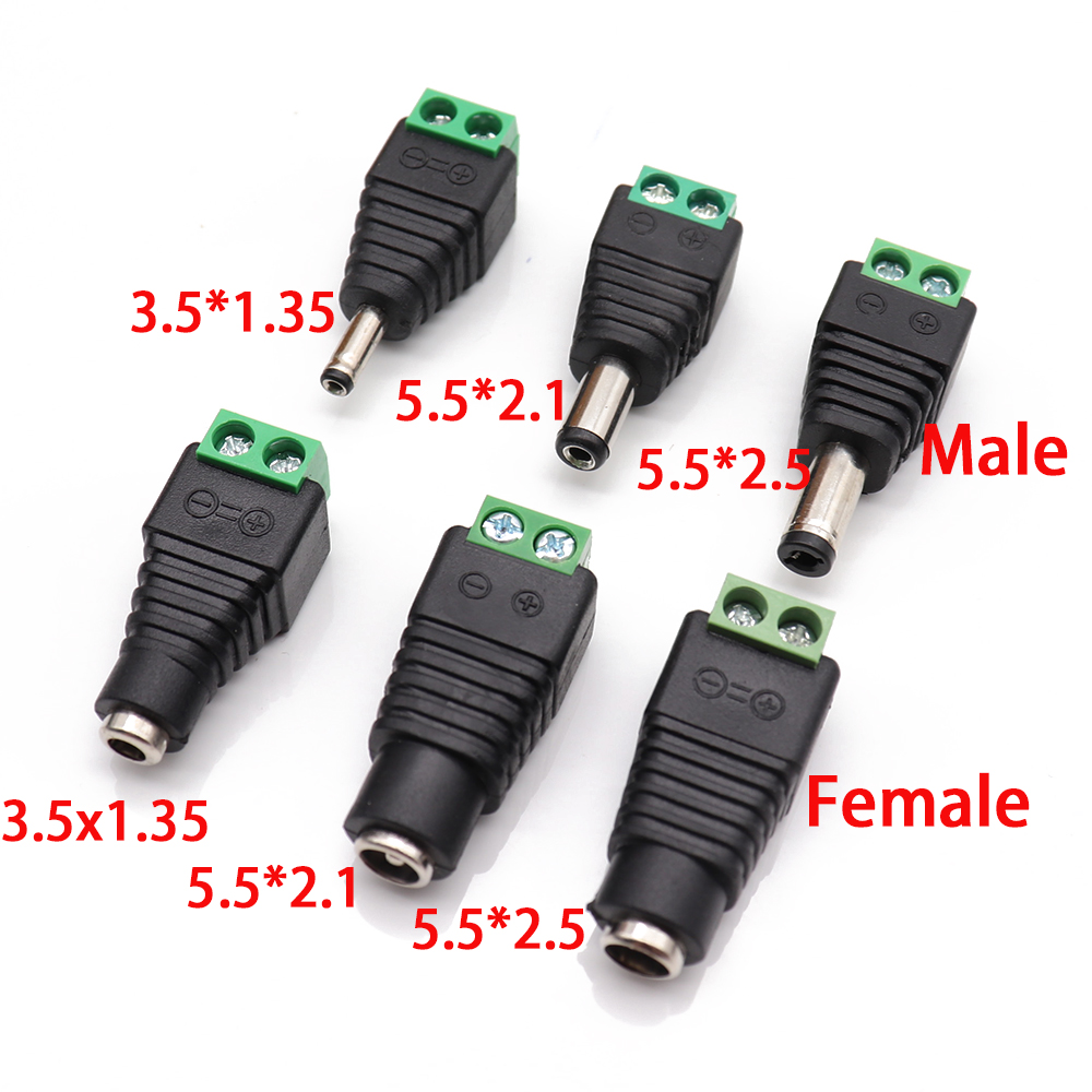 Male And Female DC Power Plug 5.5 X 2.1MM 5.5*2.5MM 3.5*1.35MM 12V 24V Jack Adapter Connector Plug CCTV 5.5x2.1 2.5 1.35