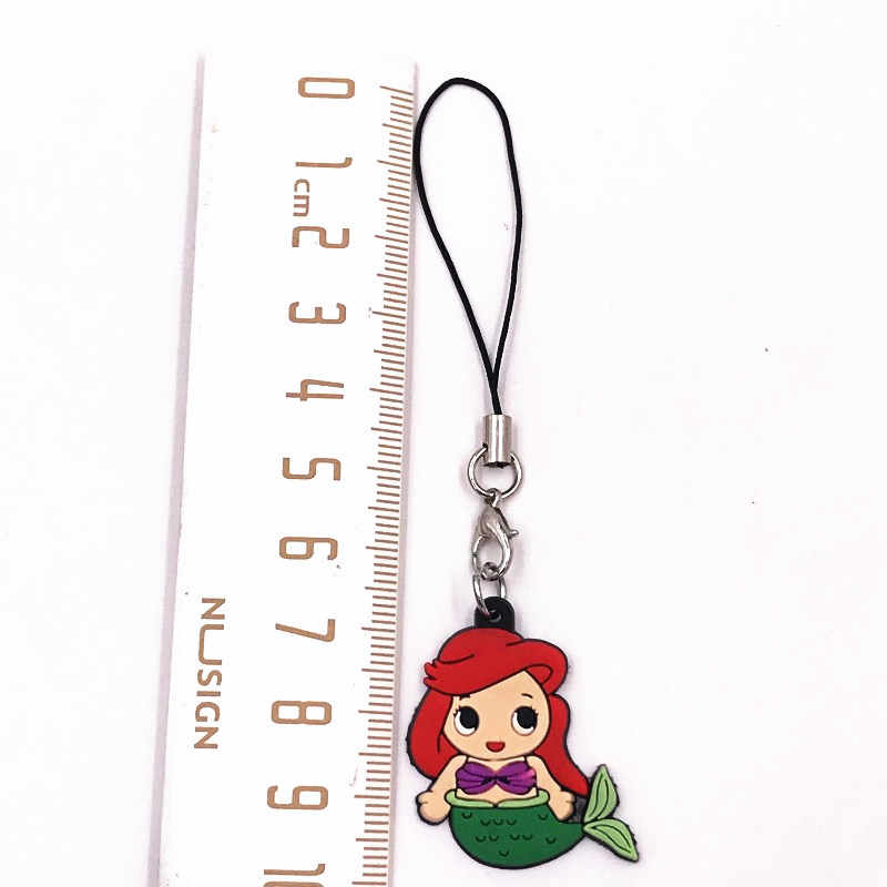 1PCS Lovely Ariel Princess Icon Key Chain For Backpack Decoration Kids Party Gifts Mermaid Cartoon Key Ring Girls Trinkets