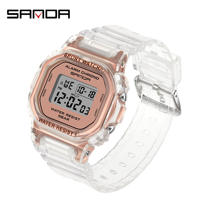 SANDA Outdoor Sport White Digital Watch Women Alarm Clock 5Bar Waterproof Shock Military Watches LED Display Shock Watch