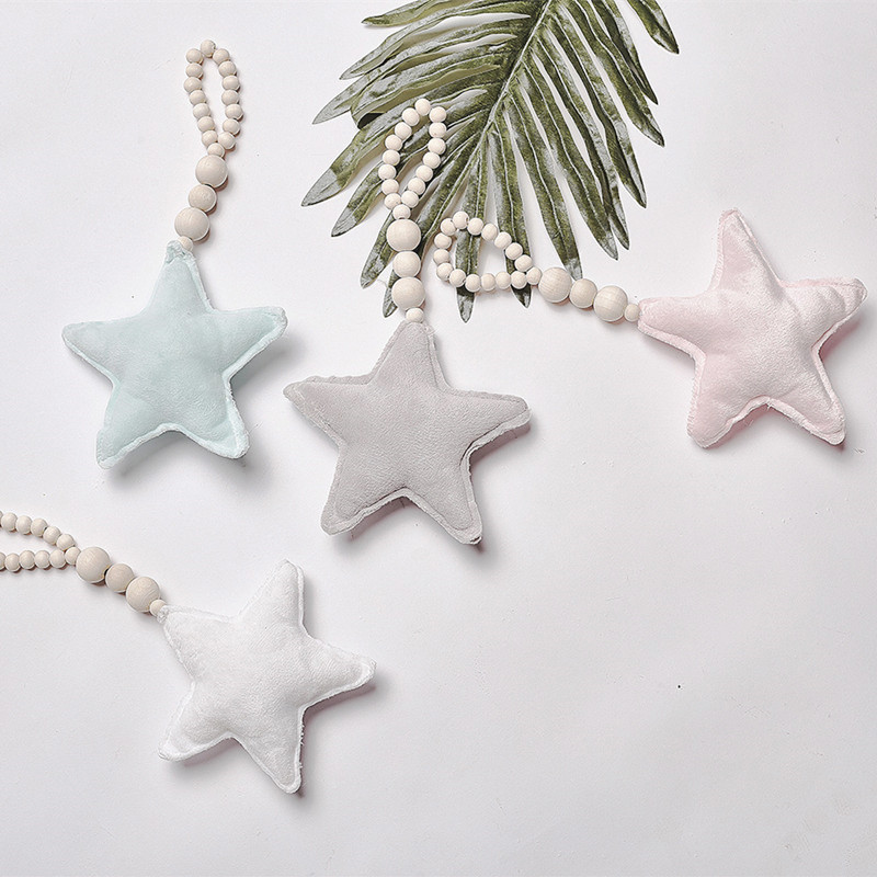 Hot Sale Baby Decoration Pole Nordic Moon Star Beads Toys Child Bed Room Crib Tent Decorative Decoration Photography Props Gifts