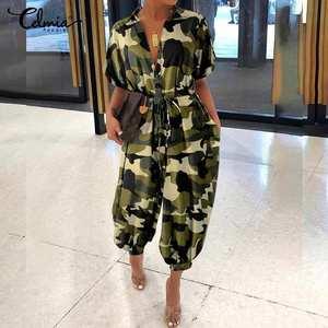 Женский комбинезон с поясом размера плюс, винтажные комбинезоны с коротким рукавом и камуфляжным принтом, повседневные брюки-карго, лето 2020