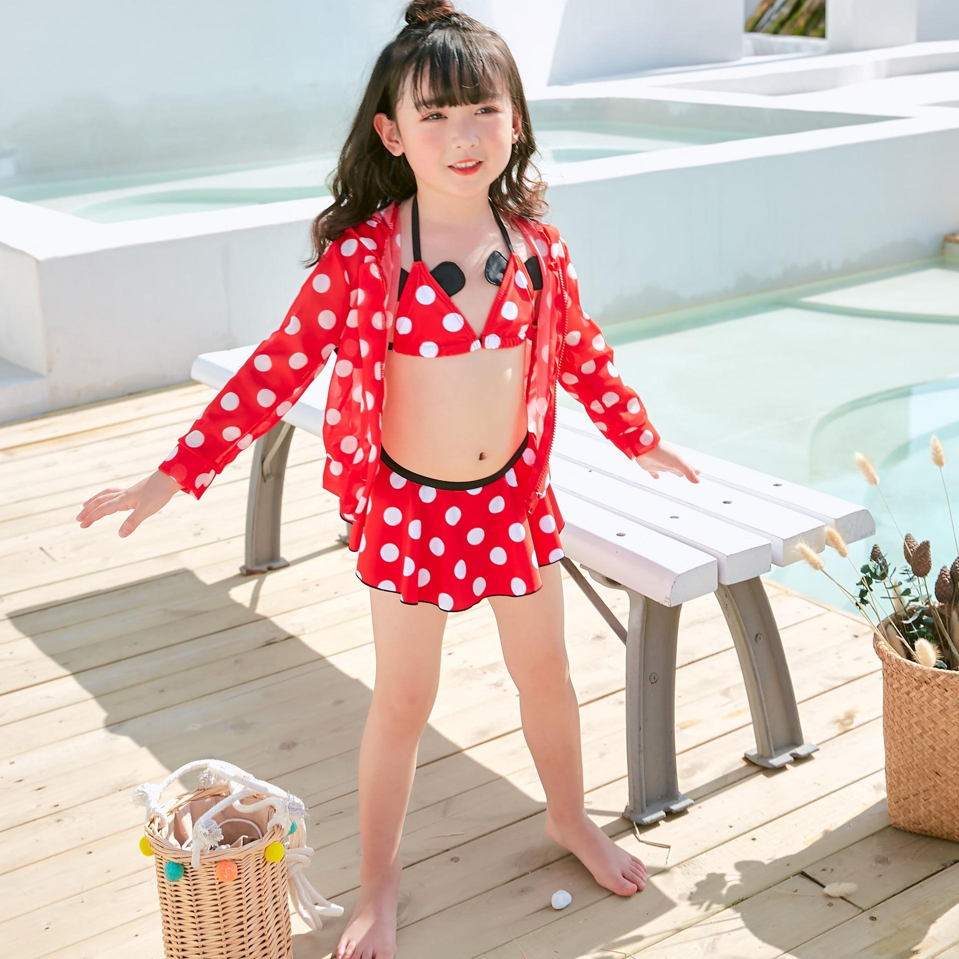 Dai Xi Si KID'S Swimwear Women's Small CHILDREN'S Cartoon Mickey Mouse Split Type Bikini Three-piece Set KID'S Swimwear 9629