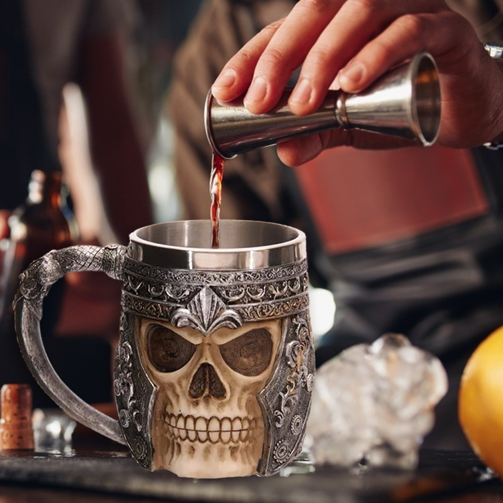 Skull Creative Tea Mug Stainless Steel Retro Viking Drinking Coffee Cup Tea Cup Halloween Pub Bar Decoration