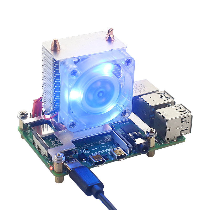 Raspberry Pi 4 Ice Tower Cooling Fan Super Heat Dissipation 7 Color Light Fan With Heat Sinks For Raspberry Pi 4B/3B+/3B