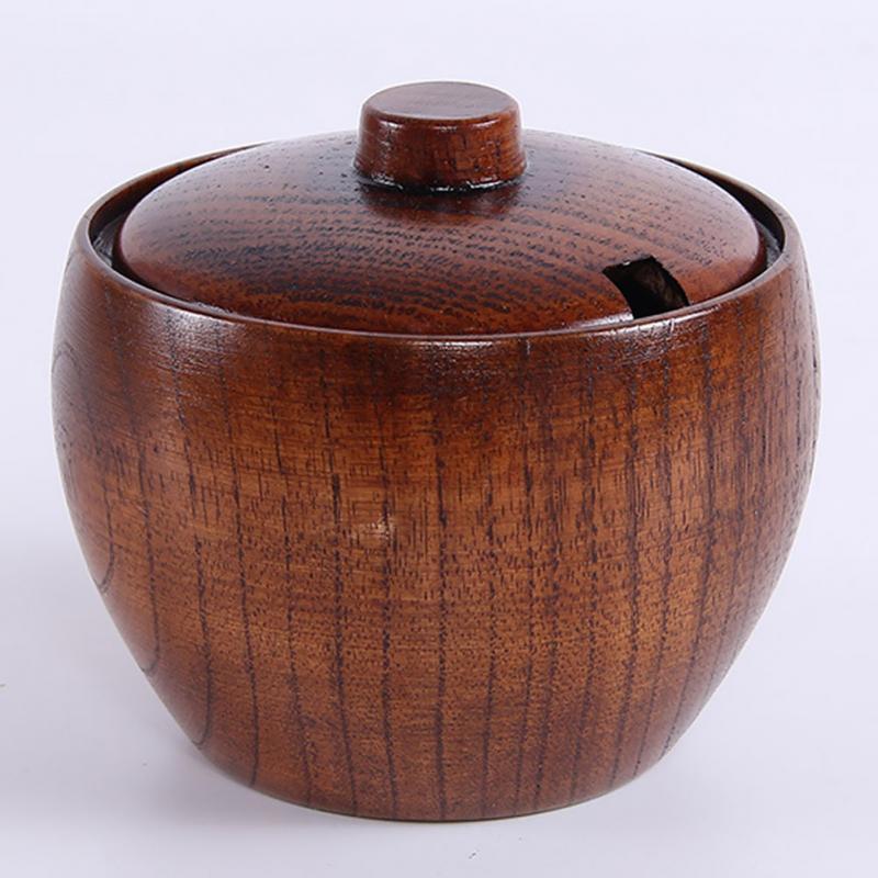 Dish-Suits Shakers Salt Pepper Salt-Cans Kitchen-Seasoning-Box Wood The Pot Sause-Pot