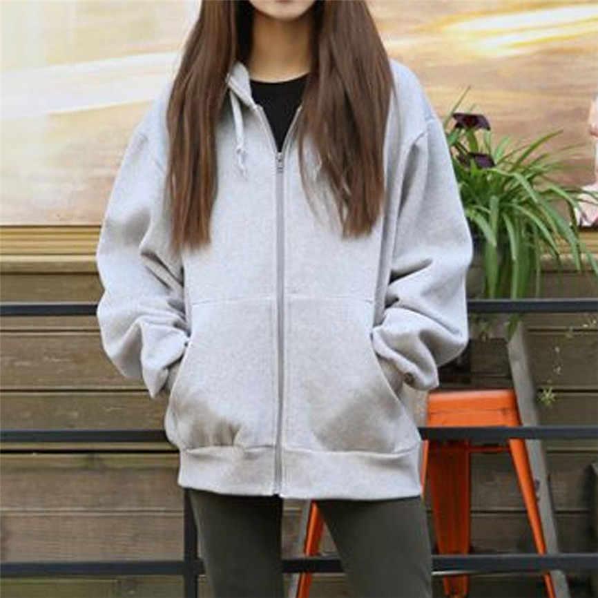 Wanita Berkerudung Jaket 2019 Wanita Jaket Fashion Fleece Lengan Panjang Longgar Kasual Zip Kantong Solid Jaket Mantel Wanita Mantel